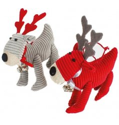 Red and grey fabric reindeer decorations from Heaven Sends