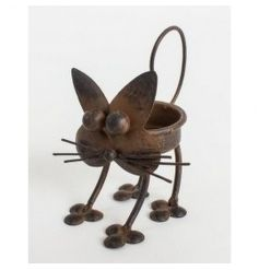 Rustic style cat tlight holder with quirky image
