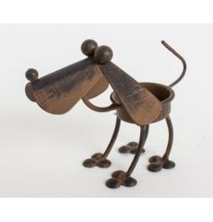 Metal dog Tlight holder with quirky style and rustic finish