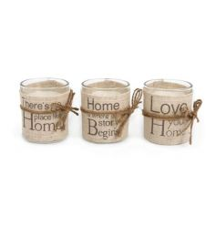 Chic candle pots with linen wrap, each with sentimental wording
