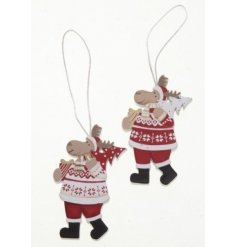 Two assorted reindeer decorations in red and white festive outfits carrying a tree and gifts.