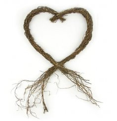 A gorgeous rustic twig heart decoration for ornamental use in the home or garden