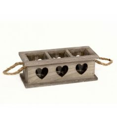 A rustic wooden tray with three glass t-light holders and chunky rope handles.