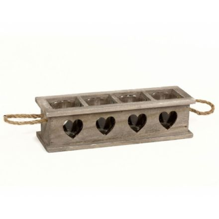 A natural wooden t-light holder tray with a grey wash finish and chunky rope handles