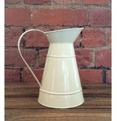 Zinc jug finished in a cream colour, a perfect planter or kitchen accessory