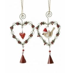 Traditional red and green wire berry hearts with festive bird and heart decorations, finished with a red bell.