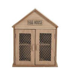 A country style wooden egg house with mesh doors and wooden sign.