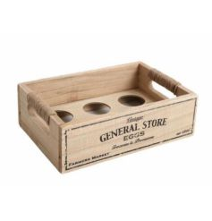 A vintage General Store wooden storage crate with chunky jute string handles.