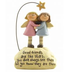 A cute friendship ornament with 'good friends are like stars' popular wording.