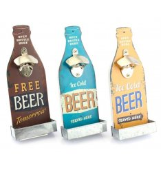 An assortment of 3 wooden and metal beer shaped bottle openers with a retro design.