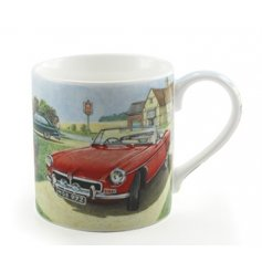 A fine quality china mug with a classic car and country illustration.