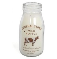 A rustic General Store milk bottle candle with a vanilla fragrance.