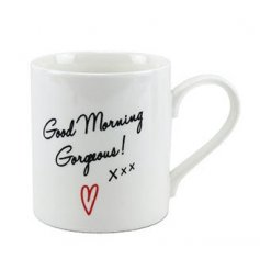 A cute and stylish 'Good Morning Gorgeous' mug with gift box.