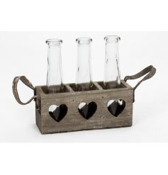Rustic style wooden heart tray with glass storage bottle to finish