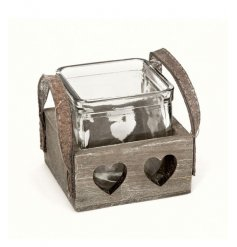 Wooden heart cut out tray with glass candle pot inside