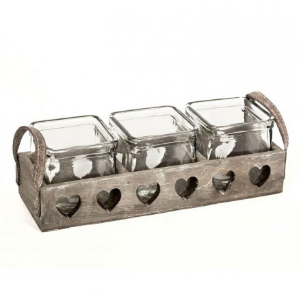 Triple Wooden Heart Tray Candle Holder