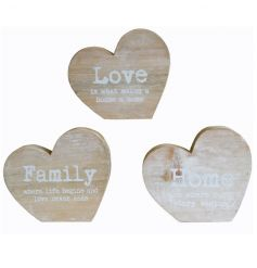 Wooden block signs in a heart shape with sweet slogan