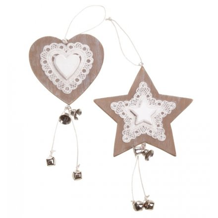 Ffx1140 Large Wooden Hanging Heart Star Mix 22843 Christmas