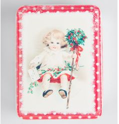 Retro style storage tin with festive image