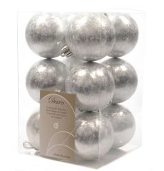 12 pack of silver baubles with an ice effect texture, a christmas essential