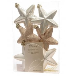 A 6 pack pearl and champagne star hanging decoration in 3 assorted designs