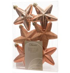 A set of 6 almond coloured star decorations in matt, shiny and glitter designs.