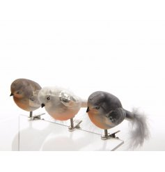 3 assorted packs of 3 vintage glass birds on clips. Perfect for clipping on trees, for place settings and more.