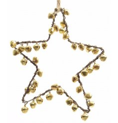 Pretty gold bells in a star shaped decoration for the home