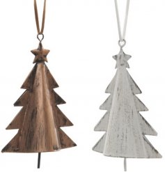 An assortment of two iron tree decorations with bells