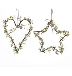 Heart and star hangers with festive berry decoration