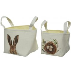 Chic fabric baskets in an assortment of 2 easter theme designs