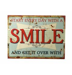 Rustic style metal plaque with a vintage design and Smile script