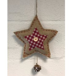 Hanging fabric star decoration with gingham detail