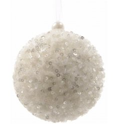 A sequin sparkle white bauble with pearl.