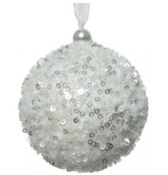A gorgeous winter white bauble with multiple sequins.