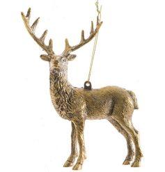 Gold coloured hanging deer decoration in an antique design