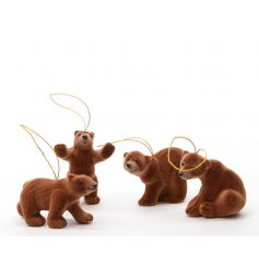 Hanging brown bear tree decoration mix
