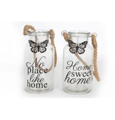 2 assorted glass bottles with rustic rope handle and script