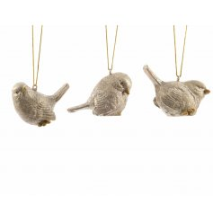 Elegant hanging bird decorations with a touch of sparkle. Assortment of 3 designs.