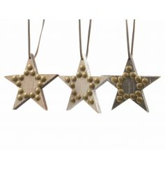 Stylish wooden heart decorations with rustic gold studs and suede ribbon to hang.