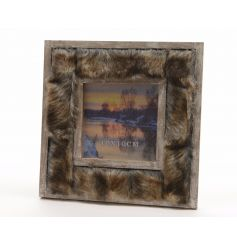 A stunning square wooden photo frame with brown and gold faux fur.