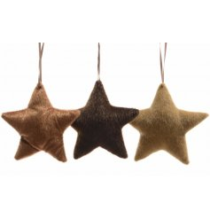 Copper, brown and gold faux fur hanging star decorations with suede ribbon.