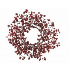 A fine quality traditional red berry wreath with wispy branches.