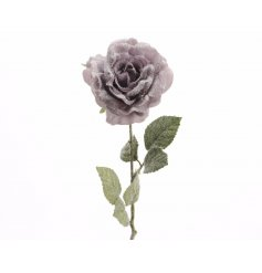 A stunning lilac silk rose with stem and a glitter frosted finish.