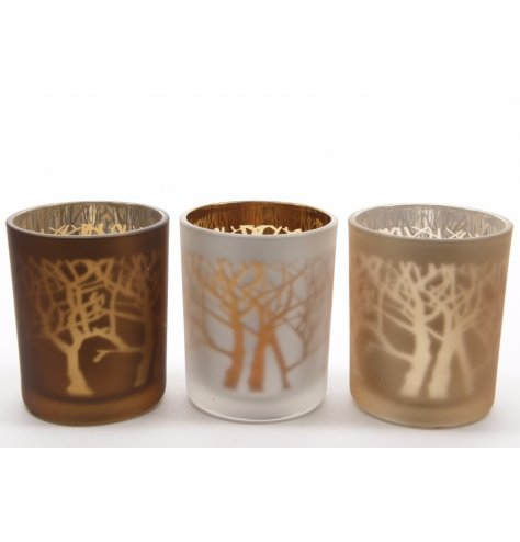 Brown, gold and silver assorted glass t-light holders with a reflective centre and rustic branch design.