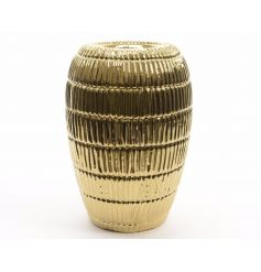 An attractive highly glazed gold planter with a decorative ribbed pattern.