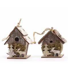 A mix of 2 charming bark birdhouse decorations with a rustic reindeer design.