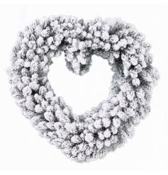 A festive style heart wreath with a snowy finish