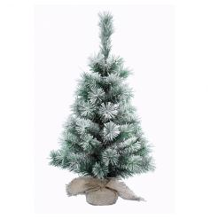 A charming tabletop sized tree with a snowy finish and rustic hessian base.