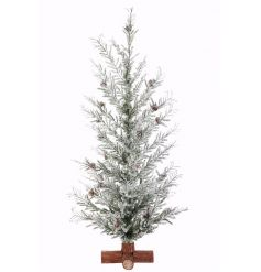 A rustic xmas tree with pinecones and a snowy finish. A stylish item to compliment many xmas themes.